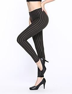 Women's Fine Stripe Polyester Navy Blue Leggings Star Cartoon Print Leggings Soft