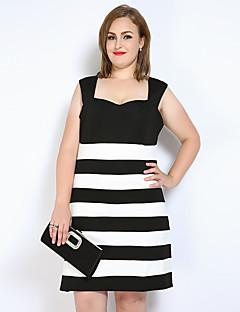 Kadın Günlük/Sade Parti/Kokteyl Büyük Beden Seksi Sevimli Sokak Şıklığı Kılıf Tişört Siyah ve Beyaz Elbise Çizgili Zıt Renkli,KolsuzKayık
