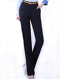 Women's Wide Leg Solid Black OL Style Bodycon Suit Pants,Plus Size/Work
