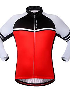 お買い得  サイクリングジャージ-WOSAWE サイクリングジャージー 男女兼用 長袖 バイク トレーナー ジャージー トップス サイクルウェア 保温 防風 高通気性 後ポケット クラシック レジャースポーツ サイクリング / バイク ランニング ブラック ルビーレッド