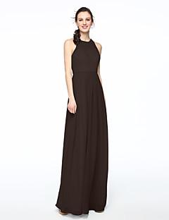 billige Grønn glamour-Tube / kolonne Besmykket Gulvlang Chiffon Brudepikekjole med Plissert av LAN TING BRIDE®