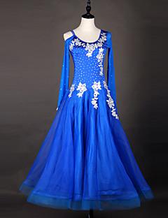 hesapli -Balo Dansı Elbiseler Kadın's Performans ChinIon Organze Aplik Payet Ayrık Renkler Uzun Kollu Yüksek Elbise