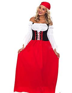 billige Halloweenkostymer-Oktoberfest Cosplay Kostumer Dame Halloween Oktoberfest Festival / høytid Halloween-kostymer Drakter Rød Helfarge