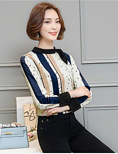Women's Daily Casual Shirt,Striped Crew Neck Long Sleeves Silk Cotton