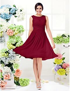 tanie Romantyczny róż-Krój A Zaokrąglony Do kolan Żorżeta Sukienka dla druhny z Krzyżowe przez LAN TING BRIDE®