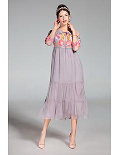 Kadın Günlük/Sade Sevimli Salaş Elbise Solid Nakışlı,¾ Kol Uzunluğu Yuvarlak Yaka Midi Polyester Bahar Yaz Yüksek Bel Mikro-Esnek İnce