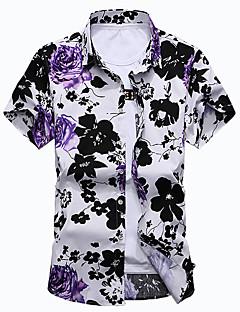 お買い得  カジュアルシャツ-男性用 プラスサイズ シャツ レギュラーカラー フラワー コットン