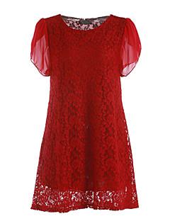 Для женщин На выход На каждый день Большие размеры Простое А-силуэт Платье Однотонный,Круглый вырез Выше колена С короткими рукавами