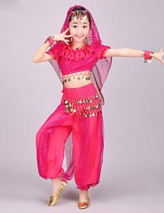 hesapli -Biz göbek dans giysileri çocuk şifon spandex 4 parça dans kostüm