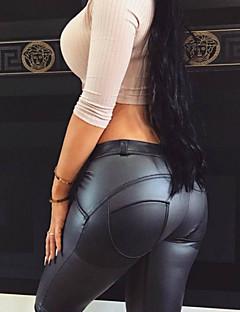 Feminino Sensual Fofo Cintura Média Micro-Elástica Chinos Calças,Skinny Cor Única,Côr Pura