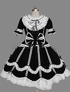 cheap Lolita Dresses-Gothic Lolita Dress Princess Women's Girls' One Piece Dress Cosplay Cap Short Sleeves Short / Mini