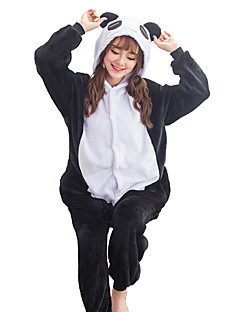 billige Kigurumi-Kigurumi-pysjamas Panda Onesie-pysjamas Kostume Flanell Fleece Svart Cosplay Til Voksne Pysjamas med dyremotiv Tegnefilm Halloween