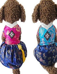 billiga Hundkläder-Hund Jumpsuits Klänningar Hundkläder Broderi Fuchsia Blå Silkesmaterial Kostym För husdjur Herr Dam Gulligt Bröllop