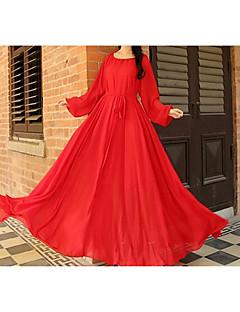 Szyfon Spódnica Sukienka Kobieta Impreza Specjalne okazje Vintage Moda miejska Jendolity kolor,Okrągły dekolt Maxi Długi rękawJedwab