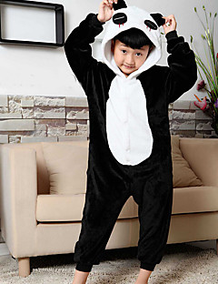 billige julen Kostymer-Barne Kigurumi-pysjamas Panda Onesie-pysjamas Kostume Flanell Fleece Svart Cosplay Til Pysjamas med dyremotiv Tegnefilm Halloween Festival / høytid / Jul