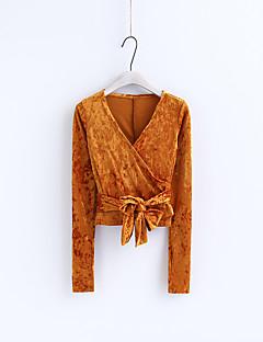 Damen Solide Sexy Einfach Street Schick Ausgehen Lässig/Alltäglich Hemd,V-Ausschnitt Sommer Langarm Baumwolle Dünn Mittel