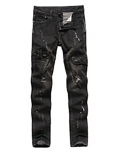 Herre Gatemote Punk & Gotisk Uelastisk Tynn Jeans Bukser,Tynn Mellomhøyt liv Denim Ensfarget