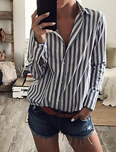 Damen Gestreift Einfach Lässig/Alltäglich Hemd,Quadratischer Ausschnitt Langarm Baumwolle Mittel