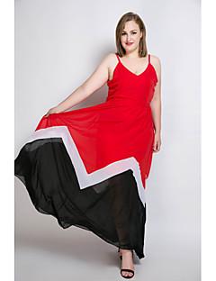 billige Plus Størrelser-Dame-Dame Plusstørrelser Strand Skede Chiffon Swing Kjole - Farveblok Patchwork Maxi Med stropper