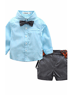 tanie Odzież dla chłopców-Koszula Bawełna Dla chłopców Solid Color Wiosna Lato Długi rękaw Blushing Pink Gray Light Blue