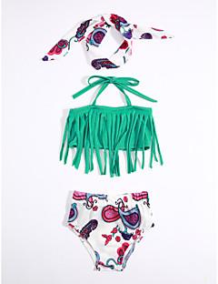 cheap Kids' New Ins-Girls' Stripes Print Swimwear, Cotton Green