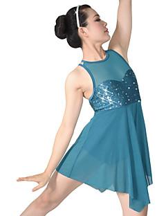 Ballet Jurken Dames Kinderen Prestatie Nylon elastan Lovertjes Lycra Gedrapeerd Met Glitter 2-delig Mouwloos NatuurlijkKleding