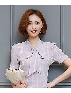 Damen Solide Einfach Niedlich Ausgehen Lässig/Alltäglich Hemd,V-Ausschnitt Frühling Sommer Kurzarm Polyester Mittel