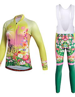 billige Sett med sykkeltrøyer og shorts/bukser-Miloto Dame Sykkeljersey med bib-tights - Gul Sykkel Klessett Polyester Lycra