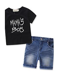 billige Tøjsæt til piger-Drenge Tøjsæt Helfarve Mode, Bomuld Denimstof Sommer Kortærmet Pænt tøj Sort