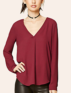Women's Plus Size Going out Casual/Daily Sexy Simple Street chic All Match Spring Summer T-shirtSolid V Neck Long Sleeve Chiffion Loose Medium