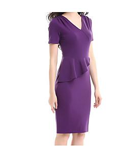 Damen Bodycon Kleid-Ausgehen Freizeit Solide V-Ausschnitt Übers Knie Kurzarm Baumwolle Frühling Mittlere Hüfthöhe Mikro-elastisch Mittel