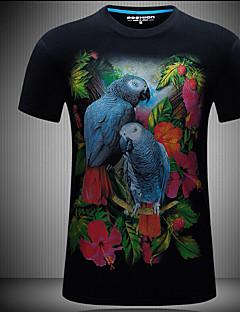 メンズ 夏 Tシャツ,シンプル ラウンドネック アニマルプリント 綿100% 半袖 スモーキー