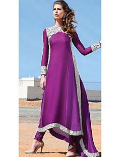 Kadın Parti Vintage Çan Elbise Solid,Uzun Kollu Yuvarlak Yaka Maksi Suni İpek Bahar Sonbahar Normal Bel Mikro-Esnek Orta