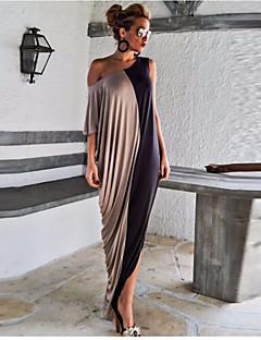 Kadın Dışarı Çıkma Çan Elbise Solid Düşük Omuz Maksi İpek Yaz Yüksek Bel Mikro-Esnek İnce