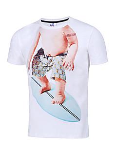 メンズ お出かけ カジュアル/普段着 ビーチ 夏 Tシャツ,パンク & ゴシック ラウンドネック 刺しゅう ポリエステル 半袖 薄手