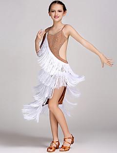 Latin Dance Dresses Kid's Performance Spandex Crystals/Rhinestones Tassel(s) 1 Piece Sleeveless Natural Dress