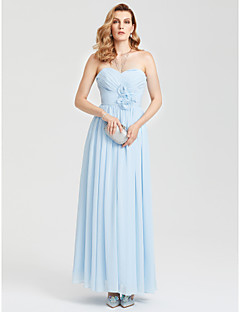 A Line Sweetheart Neckline Ankle Length Chiffon Open Back Prom Formal Evening Dress With Ruched Flower Pleats By Ts Couture