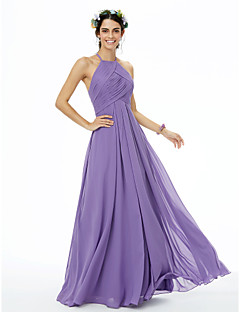 cheap Purple Passion-A-Line Jewel Neck Floor Length Chiffon Bridesmaid Dress with Pleats Criss Cross by LAN TING BRIDE®