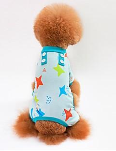 billiga Hundkläder-Katt Hund T-shirt Tröja Jumpsuits Pyjamas Byxor Hundkläder Stjärnor Grå Blå Rosa Cotton Kostym För husdjur Herr Dam Ledigt/vardag