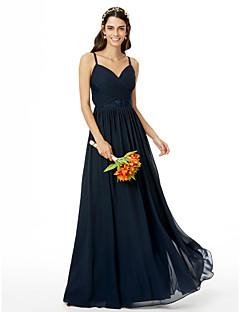 tanie Królewski błękit-Krój A Cienkie ramiączka Sięgająca podłoża Szyfon Sukienka dla druhny z Koronka Plisy Krzyżowe przez LAN TING BRIDE®