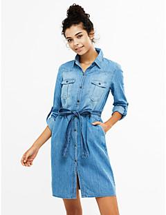 Χαμηλού Κόστους Denim Fashion-Γυναικεία Φαρδιά Ντένιμ Φόρεμα - Συνδυασμός Χρωμάτων Κολάρο Πουκαμίσου