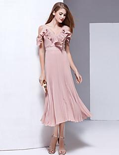 Χαμηλού Κόστους Trendy 2018-Γυναικεία Παραλία Μπόχο Γραμμή Α Θήκη Swing Φόρεμα - Μονόχρωμο, Εξώπλατο Με Βολάν Πλισέ Σιφόν Βαθύ V