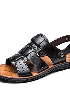 Χαμηλού Κόστους -Ανδρικά Παπούτσια Δέρμα Άνοιξη Καλοκαίρι Ανατομικό Σανδάλια Περπάτημα Καρφιά για Causal Γραφείο & Καριέρα ΕΞΩΤΕΡΙΚΟΥ ΧΩΡΟΥ Μαύρο Καφέ