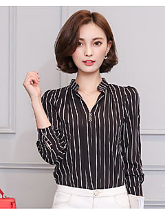 Women's Going out Vintage Shirt,Striped V Neck Long Sleeves Cotton