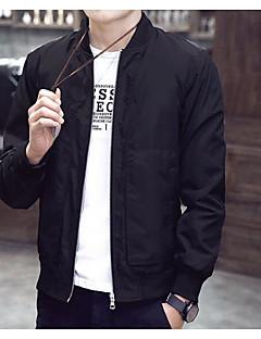 Masculino Jaqueta Casual Simples Primavera,Sólido Padrão N/D Decote Redondo Manga Longa