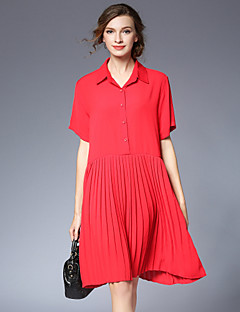Women's Plus Size Going out Casual/Daily Simple Boho Loose Dress,Solid Shirt Collar Knee-length Short Sleeve Chiffon Summer High Rise