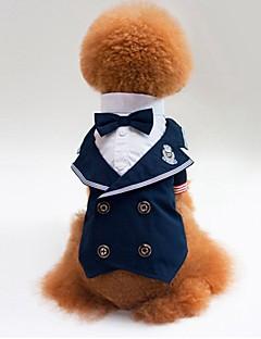 billiga Hundkläder-Katt Hund T-shirt Tröja Smoking Hundkläder Färgblock Blå Cotton Kostym För husdjur Herr Dam Fest Cosplay Bröllop