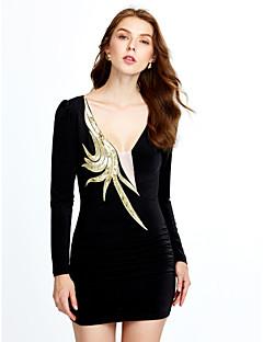 Dámské Sexy Klub Bodycon Šaty Jednobarevné,Dlouhý rukáv Do V Nad kolena Polyester Všechna období High Rise Lehce elastické Střední