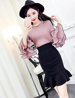 お買い得  レディースツーピースセット-女性用 Tシャツ ソリッド スカート