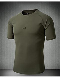 baratos Camisas para Trilhas-Homens Camiseta de Trilha Ao ar livre Verão Secagem Rápida Blusas Preto Verde Tropa Futebol Ciclismo / Moto Militar